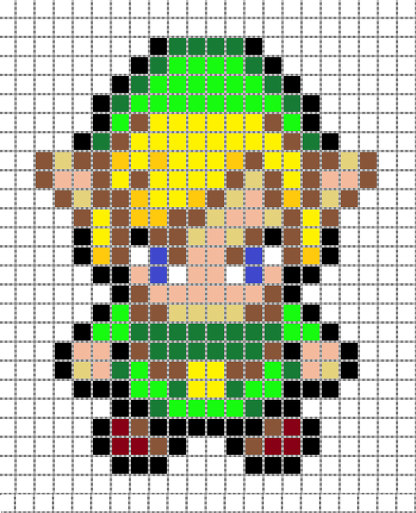 8 Bit Character Grid Link Pixel Art 2 By