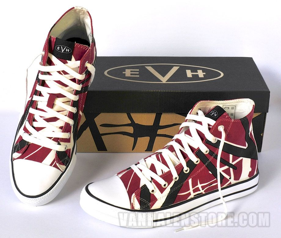 89376141b3 Van Halen Store  Eddie Van Halen Red Striped High Top Sneakers  59.95.