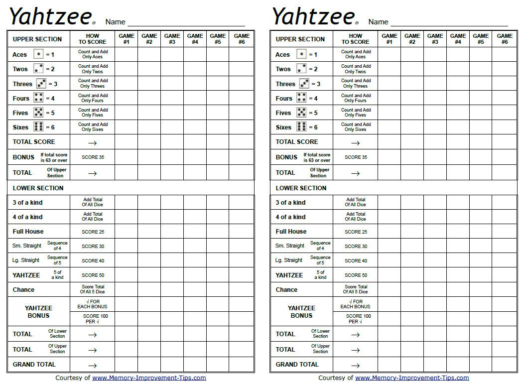 Modern Living Room Apartment Printable Sheet Yahtzee Score Card