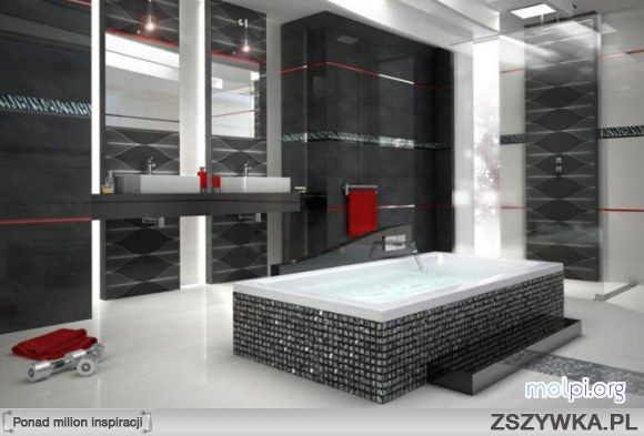 Szaro Czerwona łazienka Inside Outside Bathroom Tiles