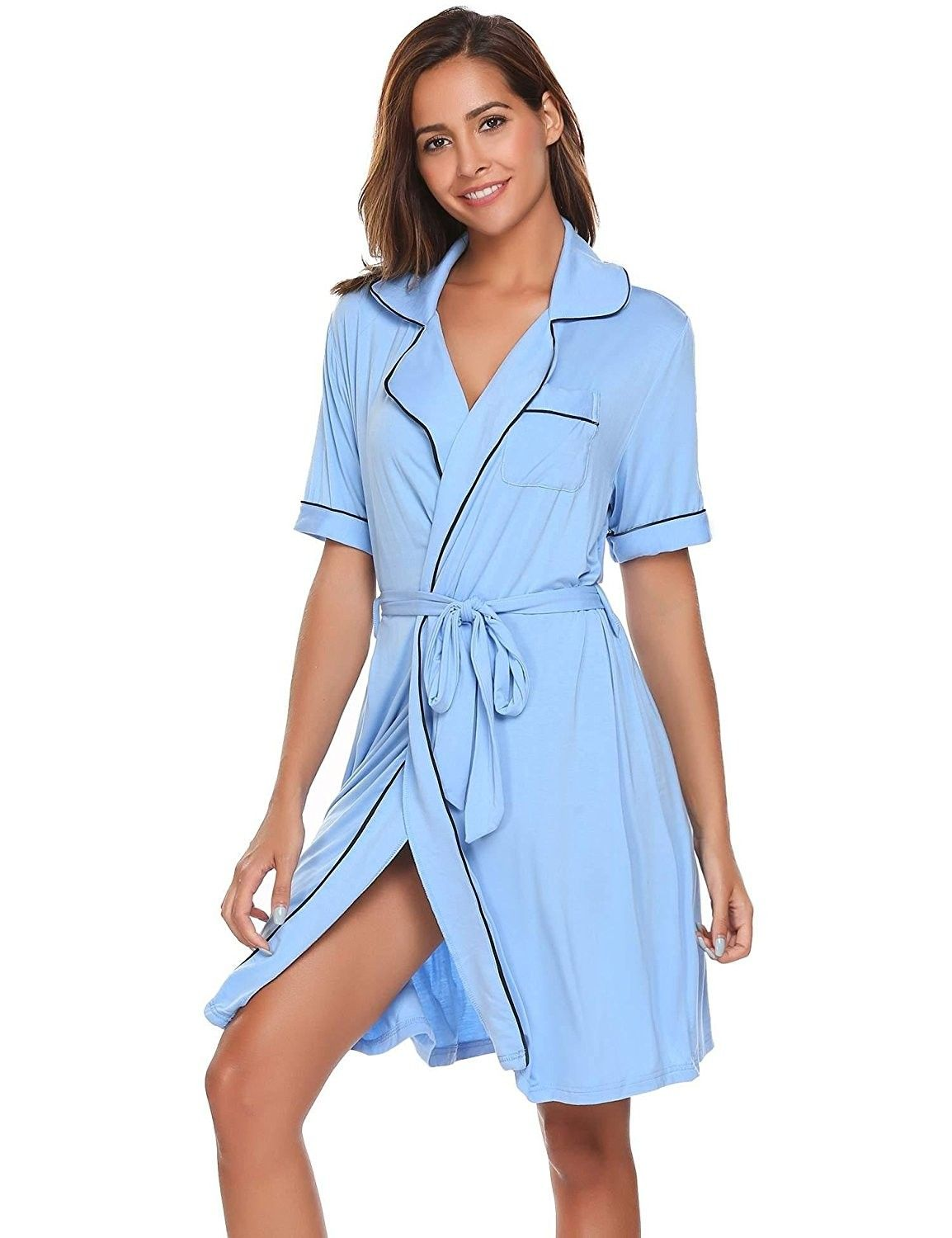 79349d8f32a Womens Rayon Short Slevee Robe Soft Solid Knit Nightwear with Belt S ...
