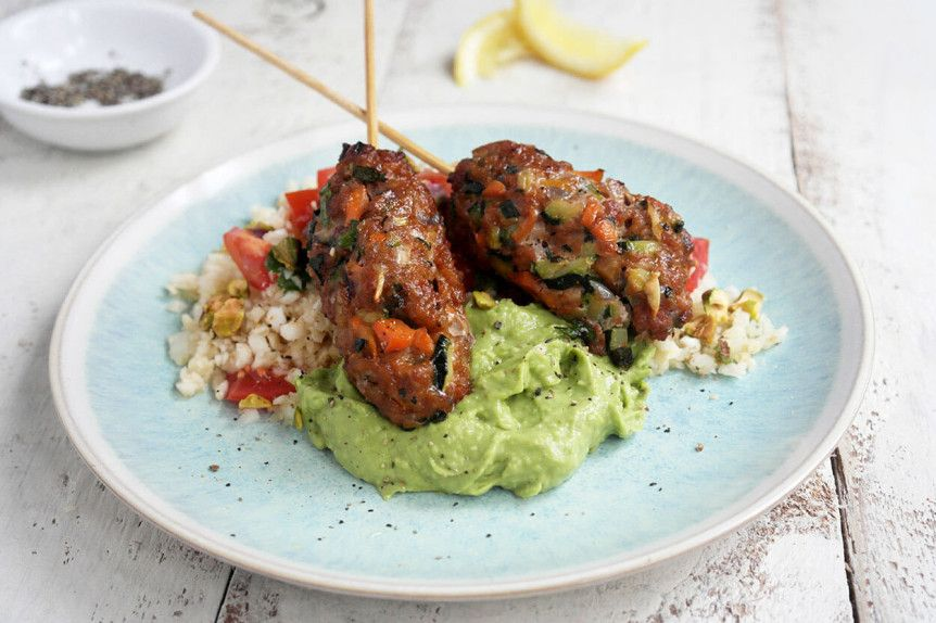 Mediterranean Pork Koftas With Celeriac Rice And Avocado Cream