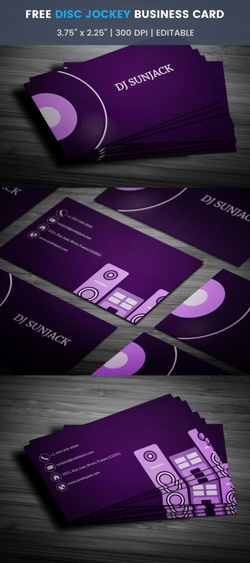Free simple disc jockey card business cards business and card free simple disc jockey card template edit online download reheart Gallery