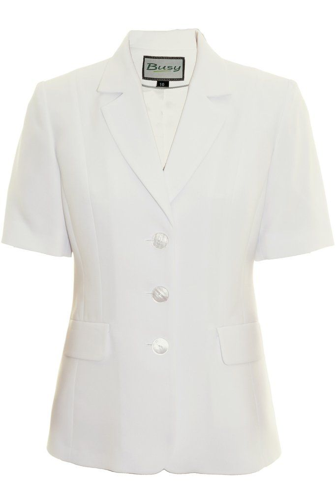 Busy Clothing Womens Light Cream Off White Short Sleeve Jacket ...