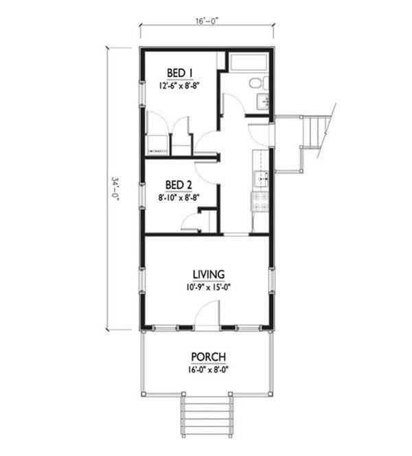 Cottage Style House Plan 2 Beds 1 Baths 544 Sq Ft Plan 514 5 Cottage Floor Plans Rectangle House Plans Tiny Cottage Floor Plans