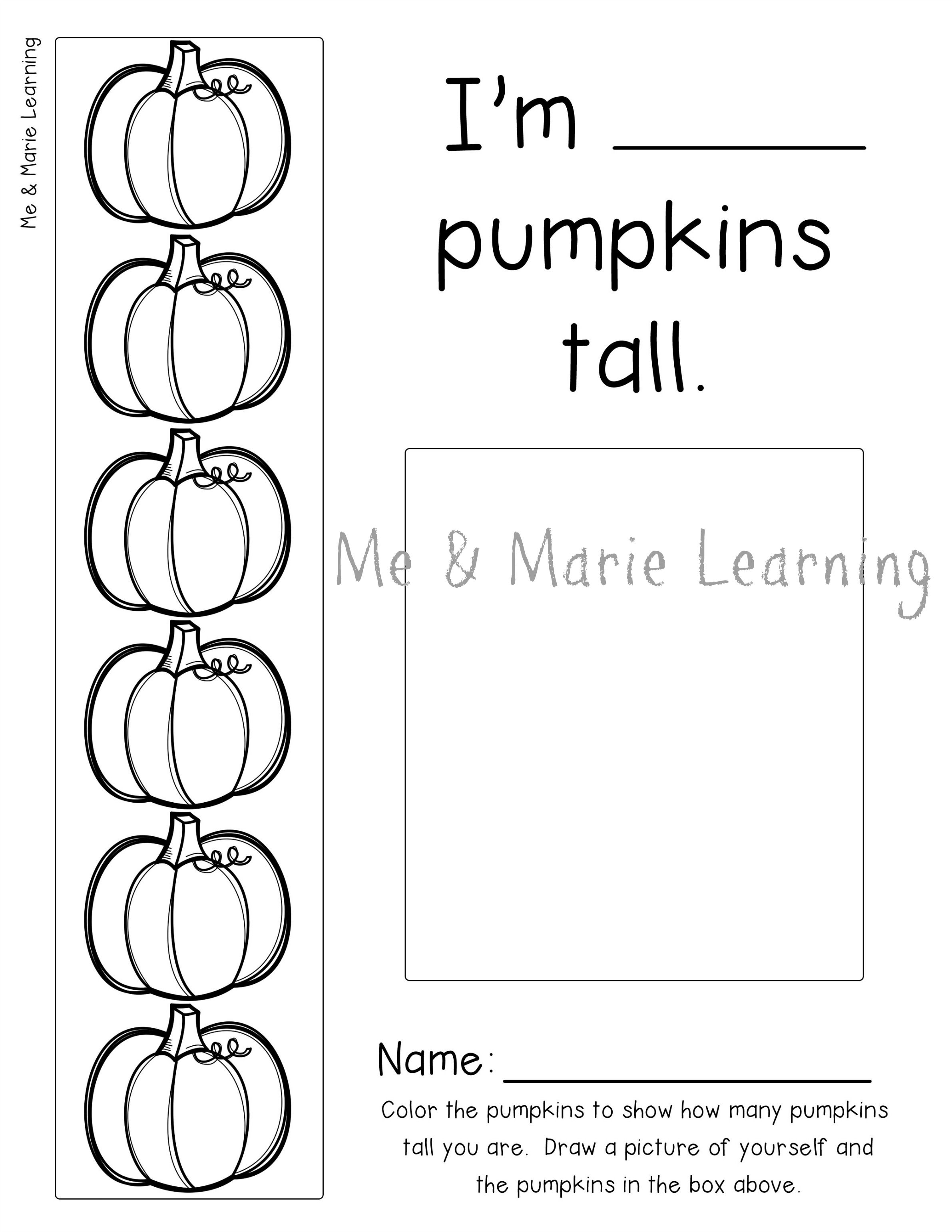 How Many Pumpkins Tall Preschool Activity