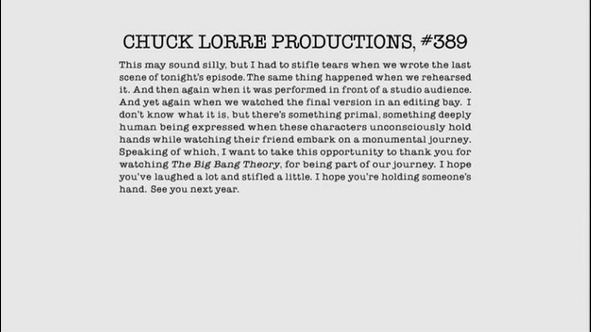 Chuck Lorre Vanity Card 389