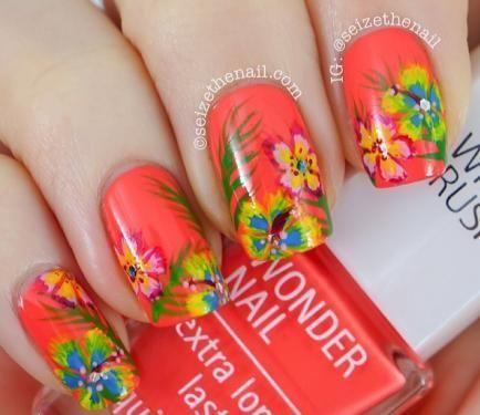Pretty Hawaiian Hibiscus Springsummer Flower Nails Uas