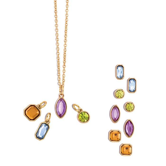 Includes 4 interchangeable pendants and 4 pairs of earrings includes 4 interchangeable pendants and 4 pairs of earrings pierced goldtone chain 17 aloadofball Images