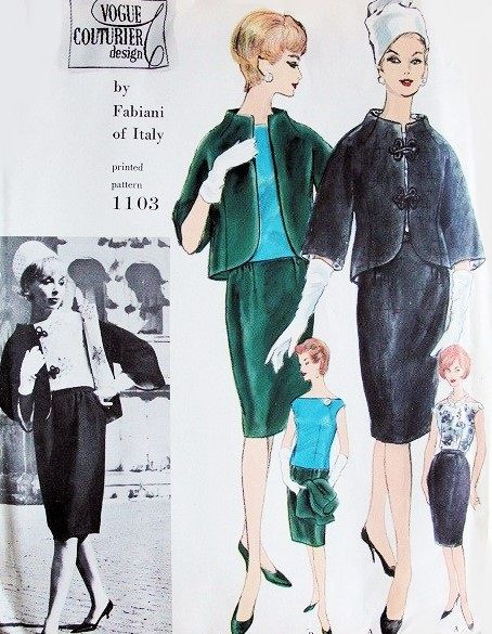 efd68ad00bc 1960s FABIANI Elegant Suit and Blouse Pattern VOGUE COUTURIER DESIGN 1103  Stunning Funnel Neck Jacket