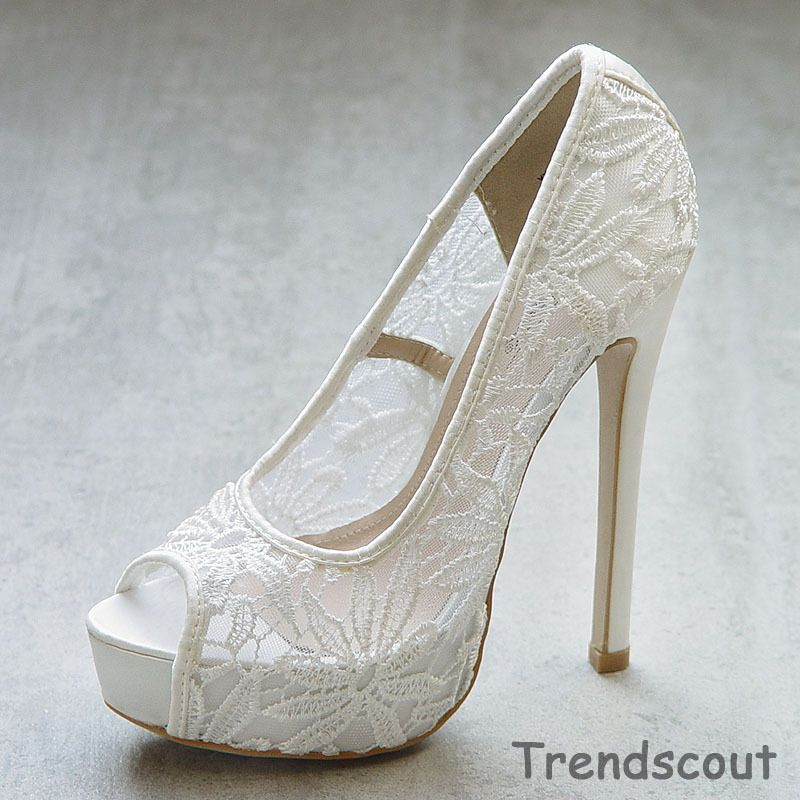 Rosie Italy Platform High Heels Lace Bridal Shoes New White Highheels