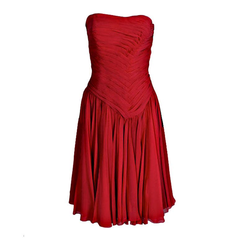 Desses Couture Pleated Chiffon Strapless Cocktail Dress