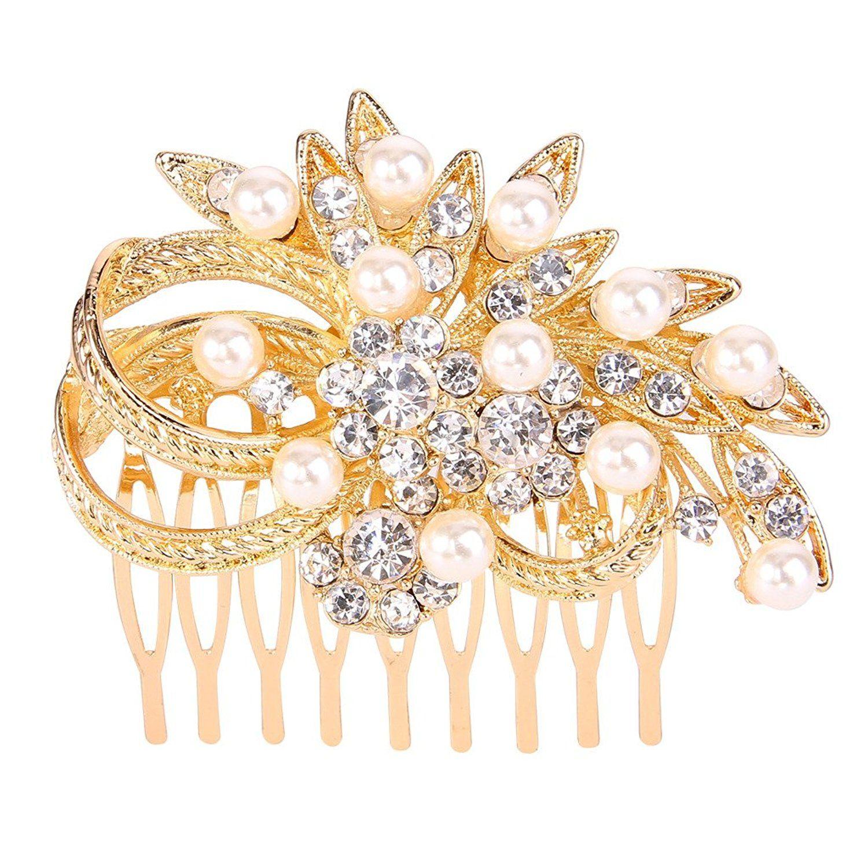 Bridesmaid Bridal Wedding Gold Plated Simulated Pearl Austrian Crystal Hair Comb
