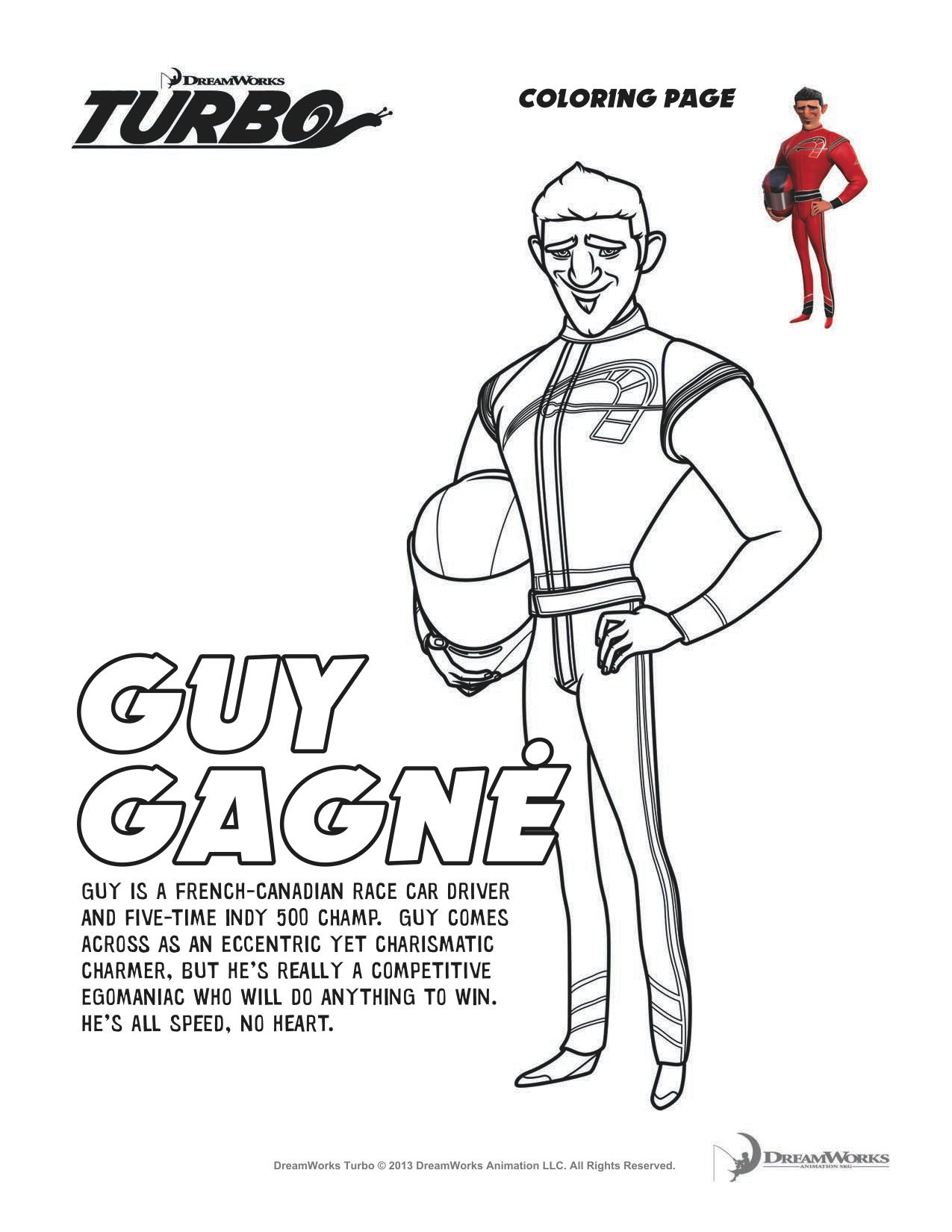 Turbo Guy Gagne Coloring Sheet Coloring Pages Printable Coloring Pages Guys