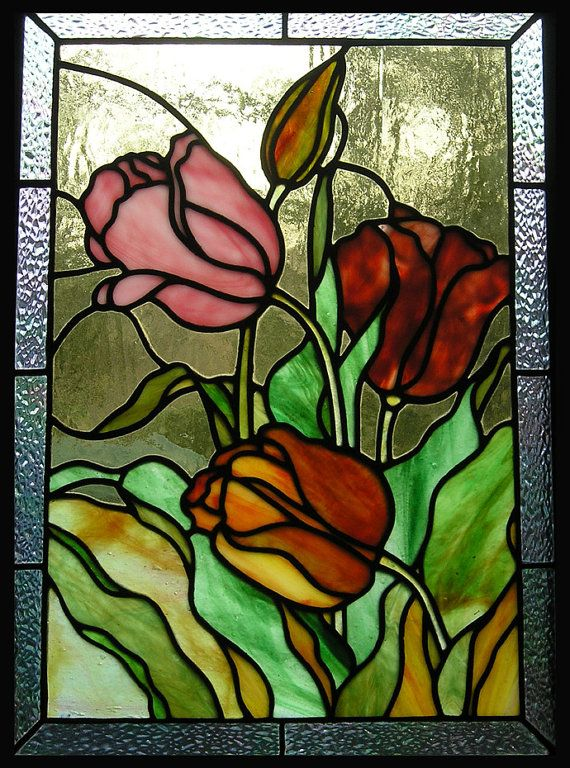 Tulips Stained Glass Panel By Theglasspeacock On Etsy 300 00 Stained Glass Flowers Glass Flowers Stained Glass Paint