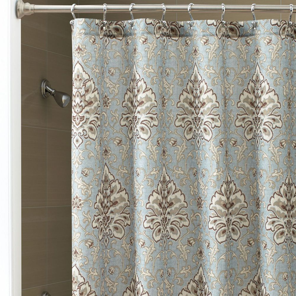 Chapel Hill Croscill Marietta Fabric Shower Curtain Brown Beige Blue Teal Fabric Shower Curtains Shower Curtain Curtains