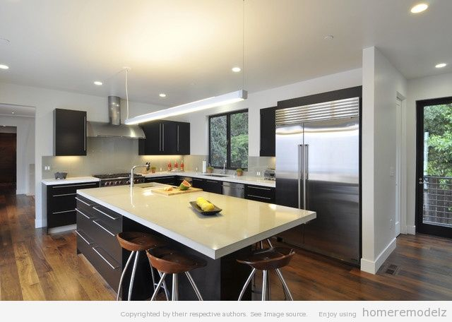 Kitchen. Excellent Kitchen Island Table Above Laminated Wooden Floors:  Modern Kitchen Island Table Design