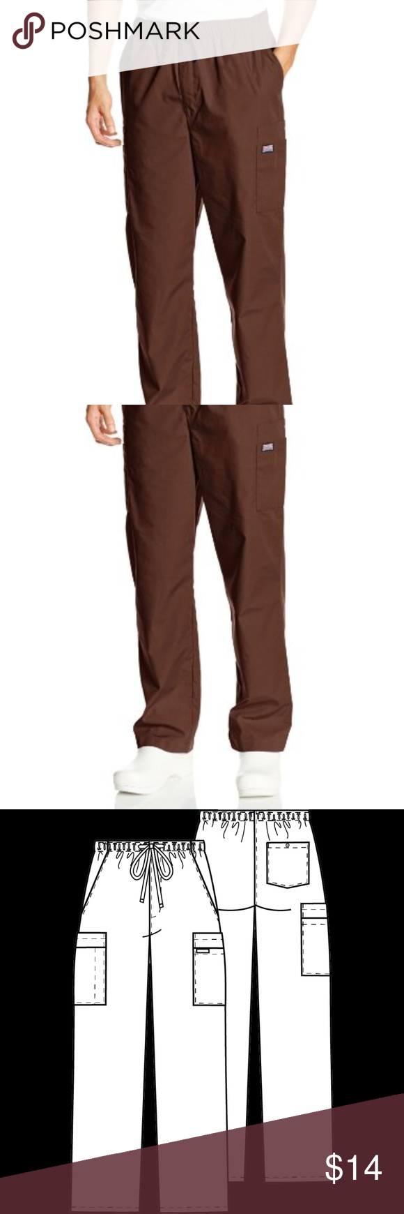 43a88478522 NWT Men's Cherokee Cargo Scrub Pant Chocolate New With Tags Cherokee  Workwear Men's Cargo Zip Fly
