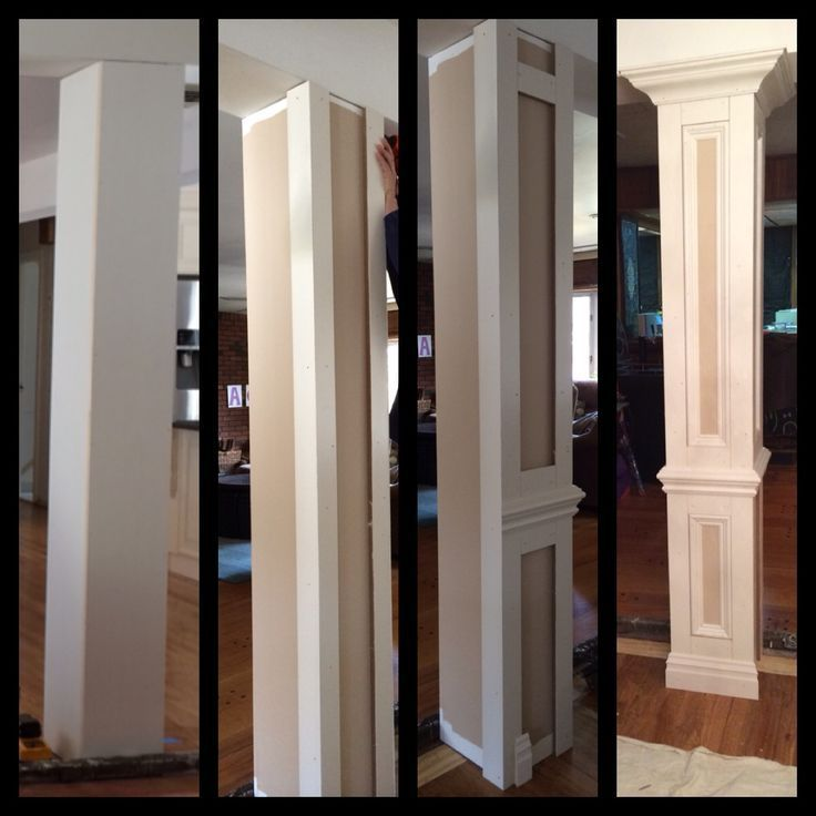 Do it yourself columns to divide living room and dining room areas