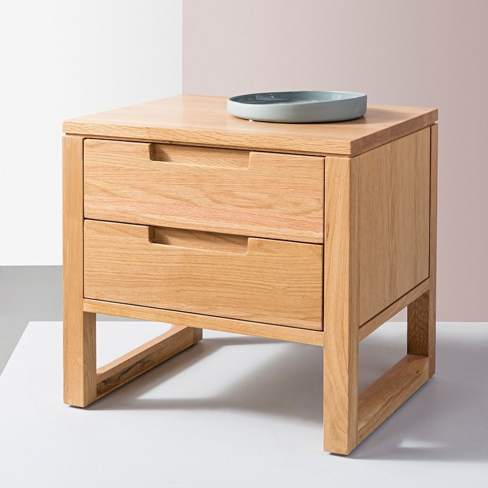 Bruno 2 Drawer Bedside Table Solid Oak 50x42x47cm Icon By