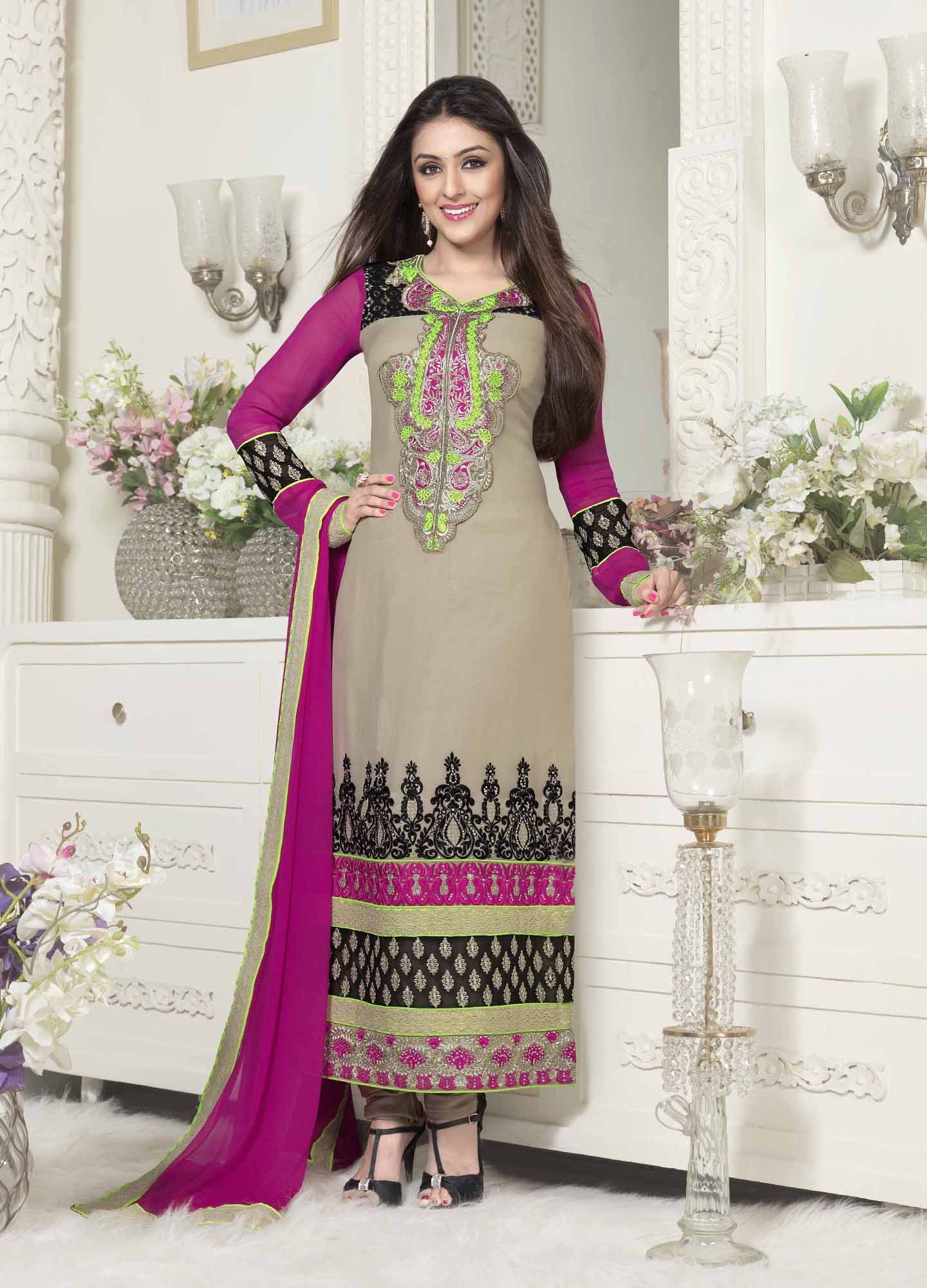 Gray u pink chudidar semi stitched salwar kameez gray pink and