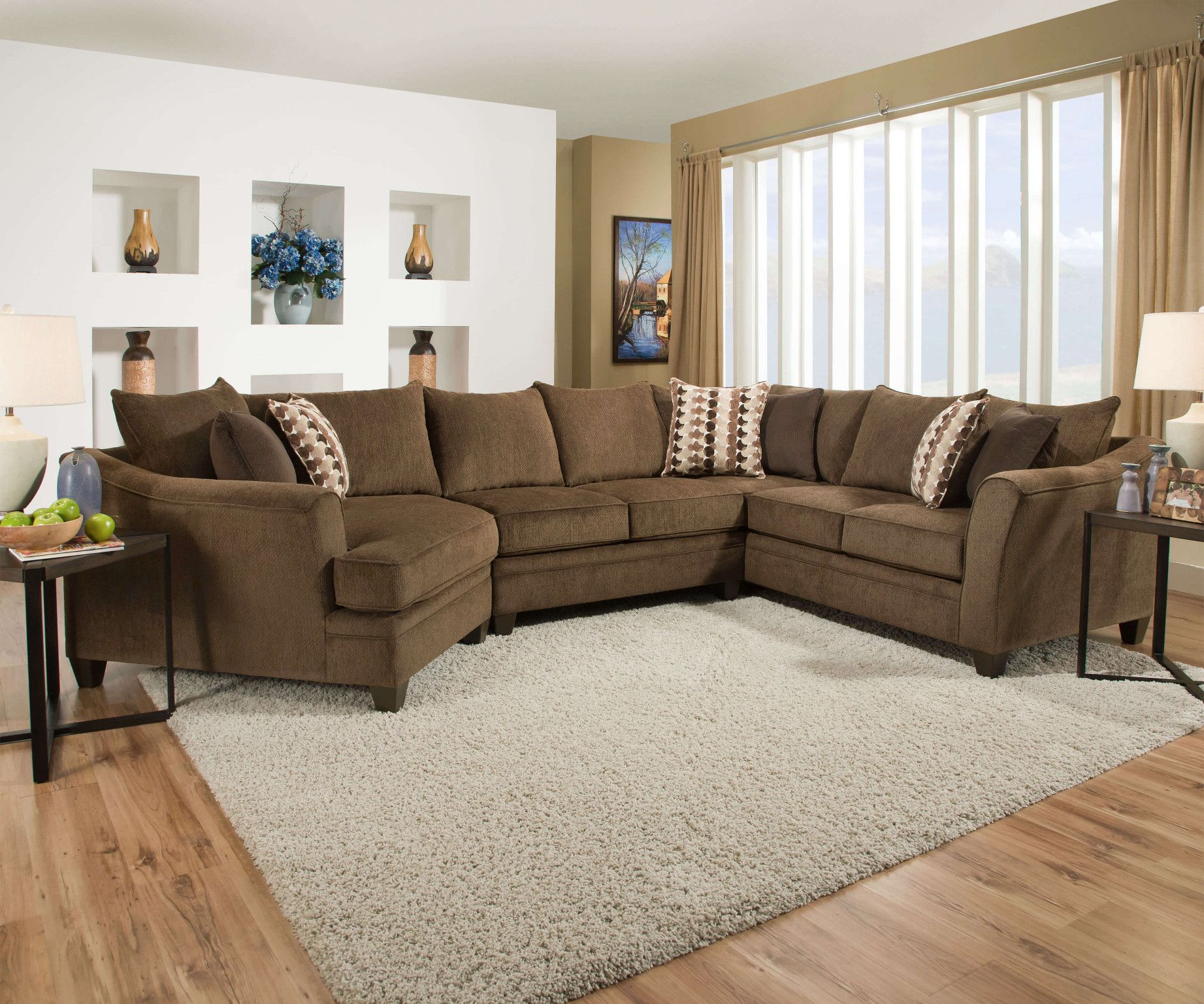 Albany Chestnut 3 Piece Sectional Quality Simmons Upholstery With