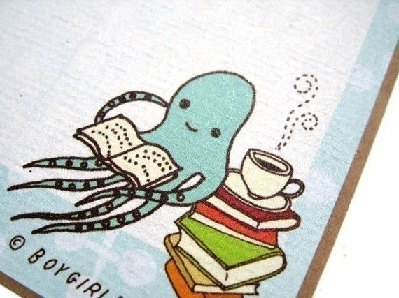 Octopus BOOK LABELS set of 6 book stickers  book by boygirlparty,