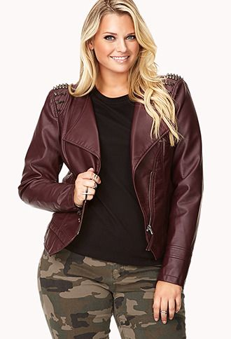 64e742c087 Amazing Spiked Shoulder Brand New Forever 21 Plus Faux Leather Burgundy  Moto Jacket sz 2x