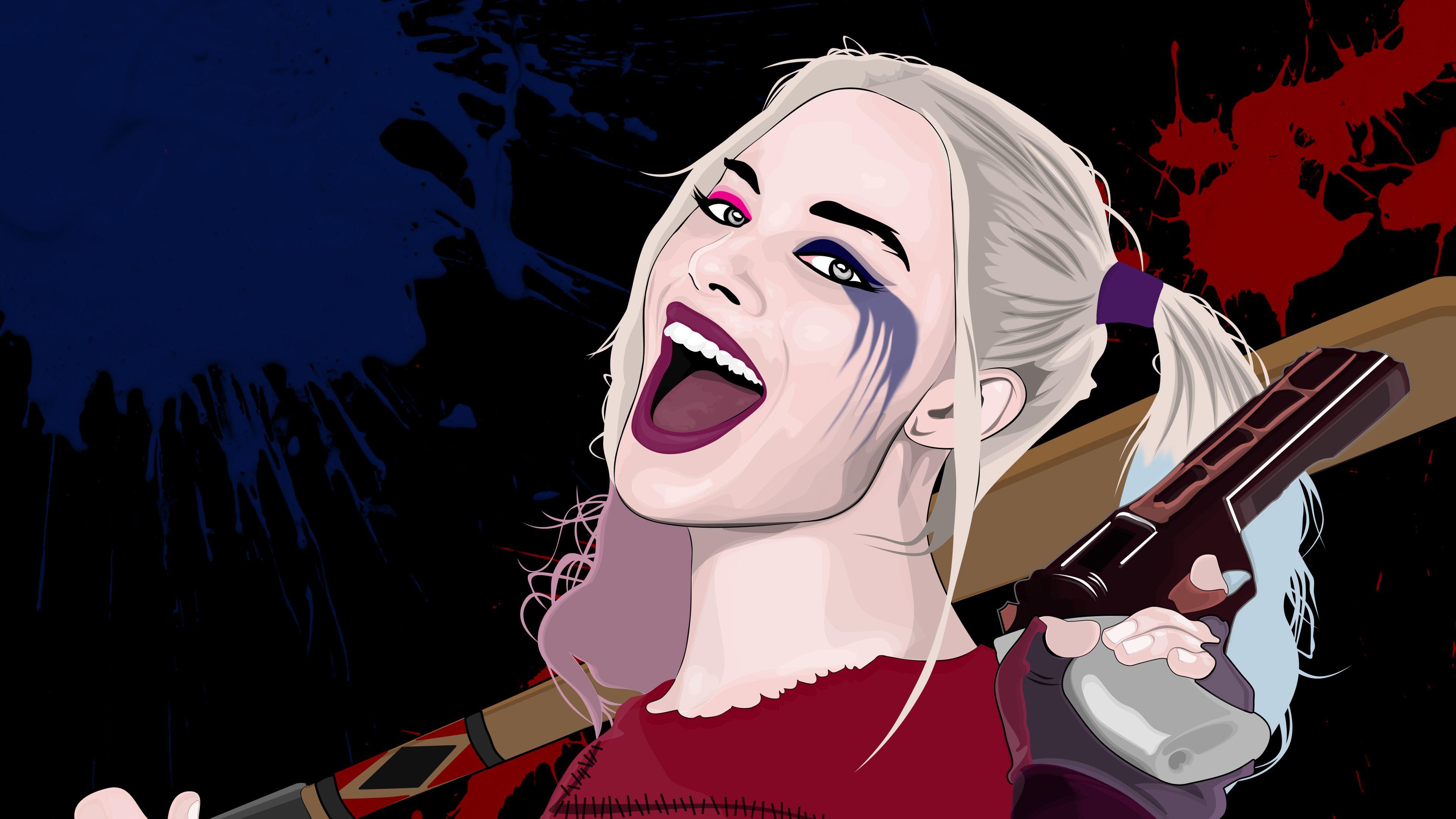 Harley Quinn Vector Portrait Superheroes Wallpapers Hd Wallpapers