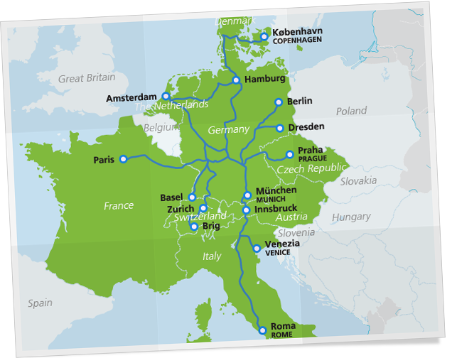 City Night Line route map travel destinations – Map of German Train Routes