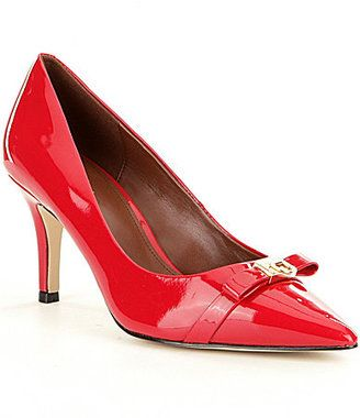 Cole Haan Bow Patent red pumps heels