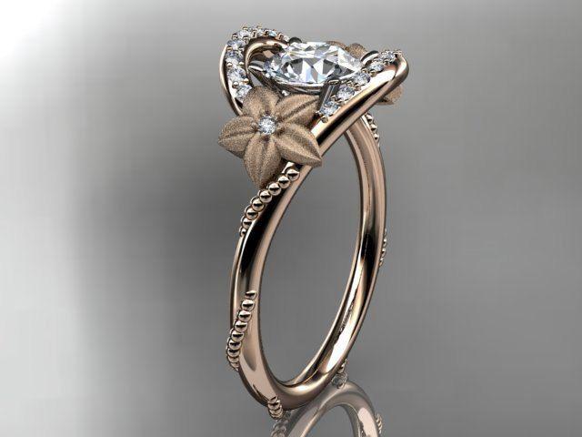 Floral bridal ring Flower engagement ring 14kt rose gold diamond