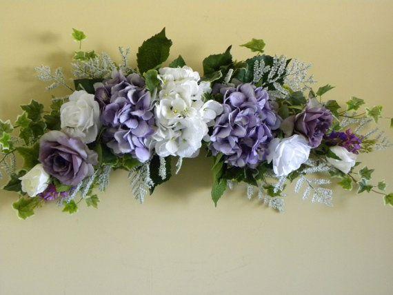 New Flower Swag Arrangement Lavender Hydrangea by tlgsilkfloral, $54.95
