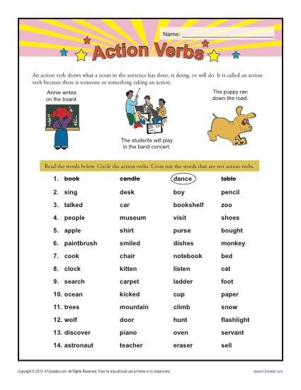 Action Verbs Action Verbs Verb Worksheets Action Words