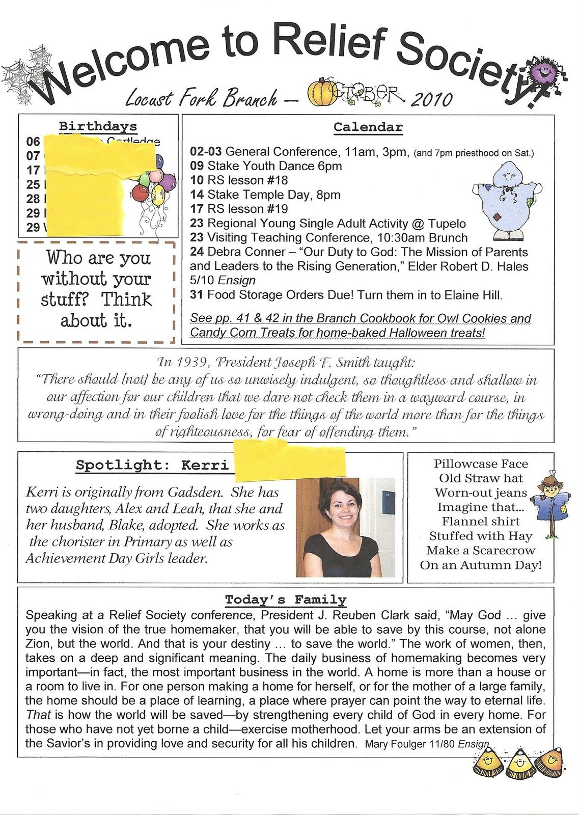 Relief Society Newsletter Template Free  Relief Society