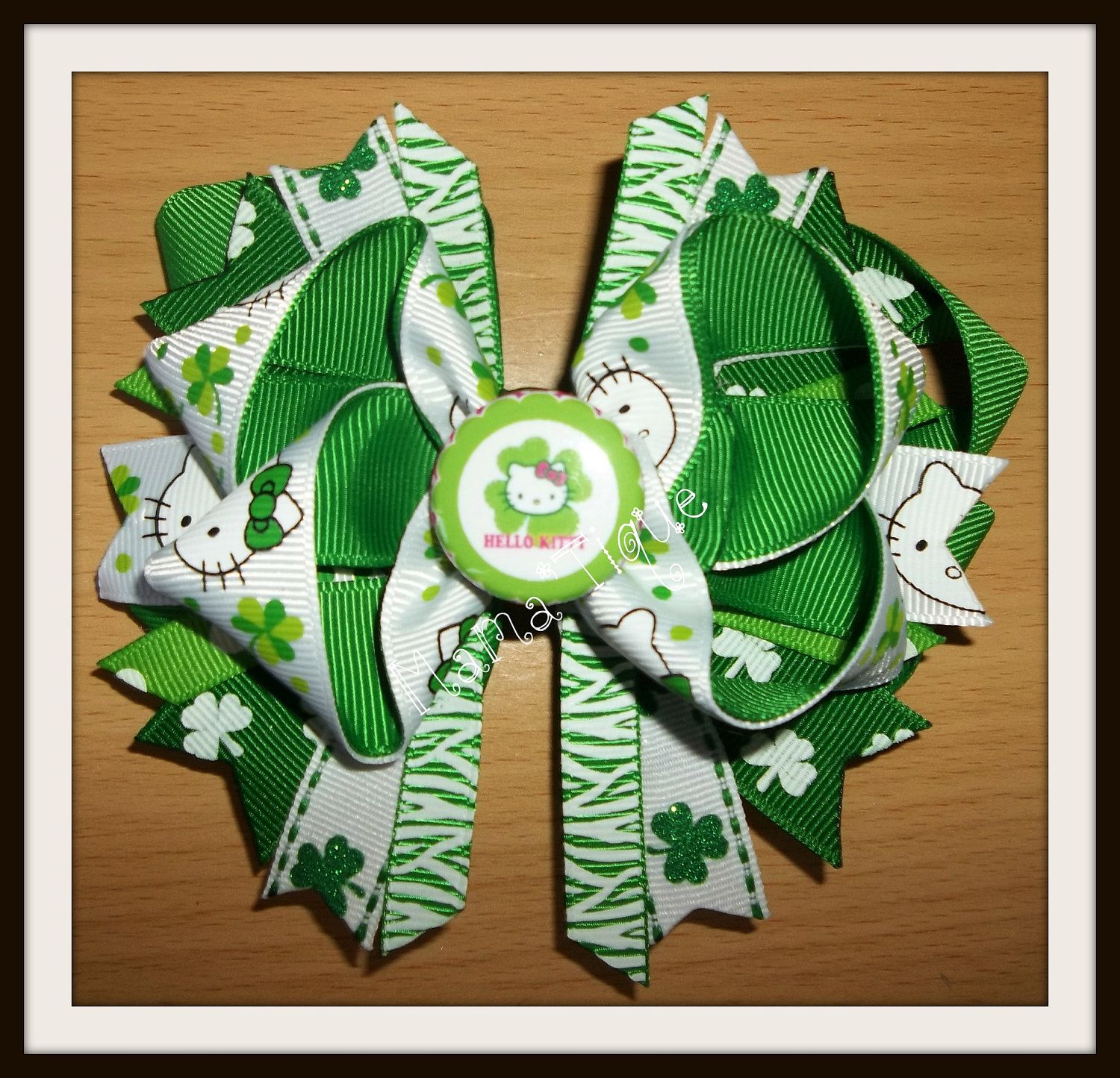 St patrickus day kitty bow on clip leprechaun and by mamatique