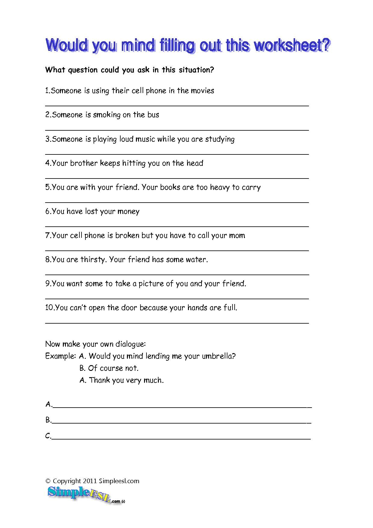 Esl Questions Worksheet