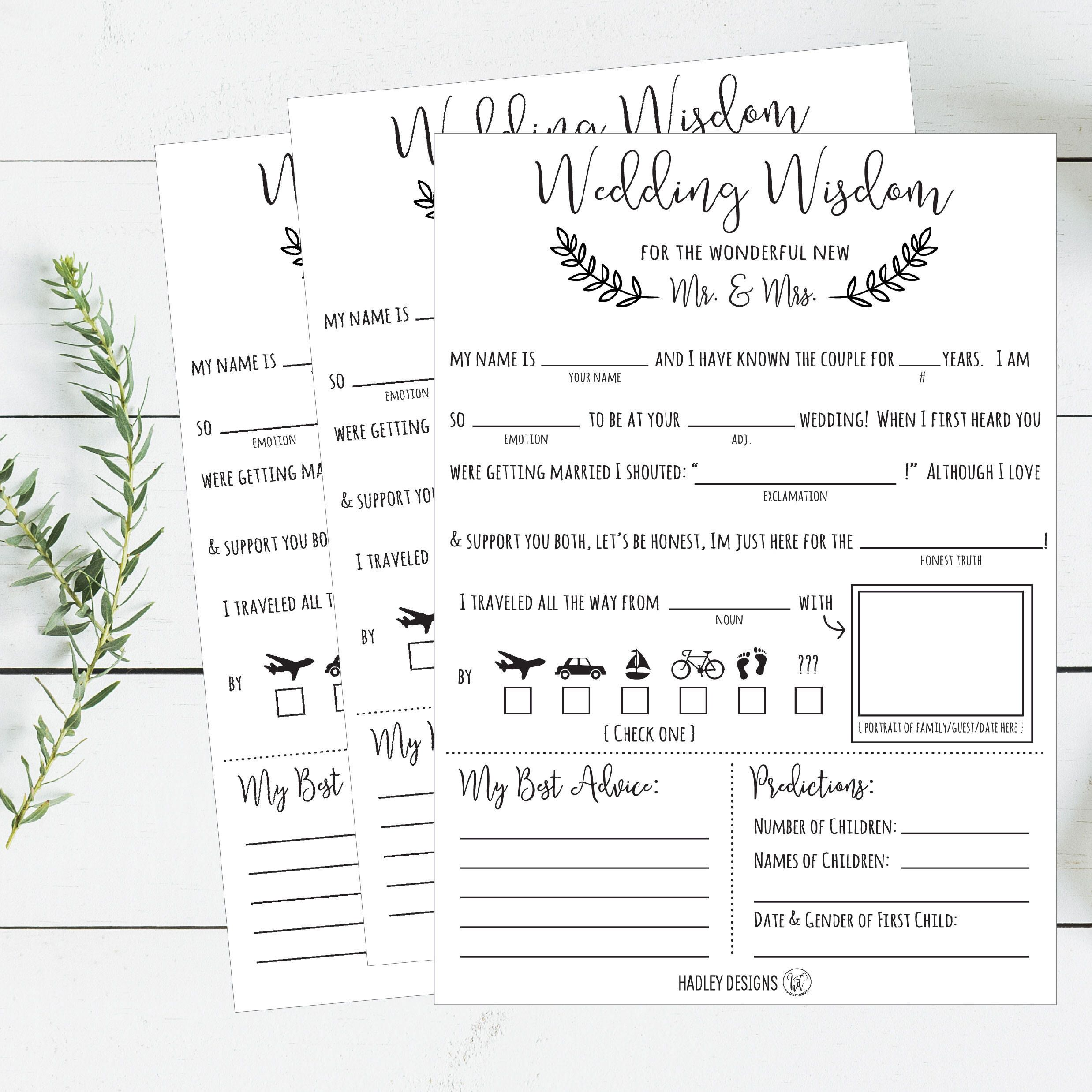Mad libs Wedding Wisdom Printable Cards Rustic Elegant Bride