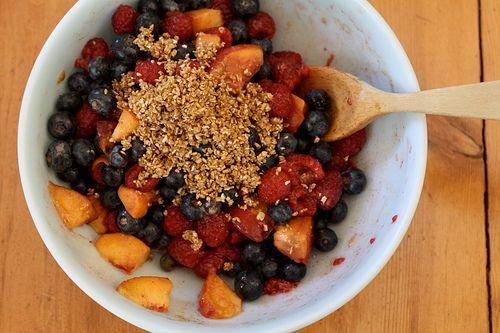 Vegan Peach Berry Crumbles