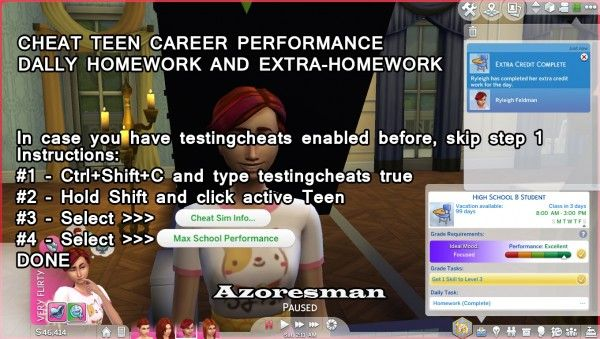 Mod The Sims: Cheat Teen HighSchool Performance and Homework by