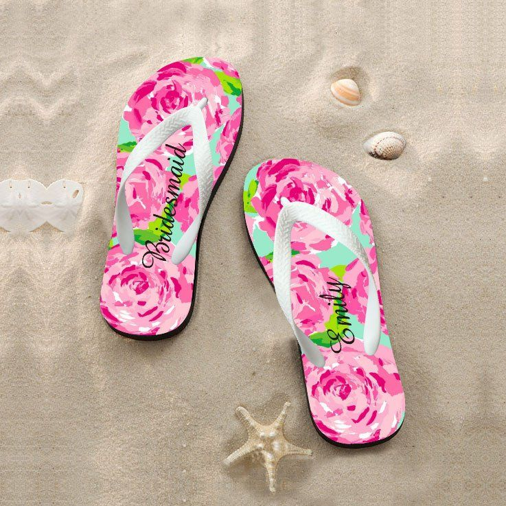 Flip Flops For Wedding Guests Personalized Bridesmaids Shoes Womens Bridesmaid