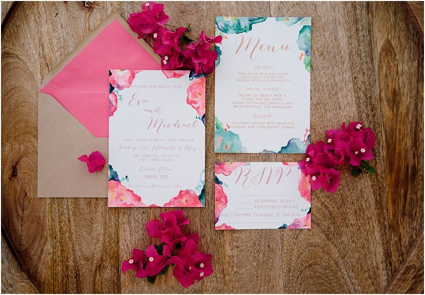 Handpainted stationery set by The Papier Co {Ellie@elliewauters.com}  | Photography by A Thing Like That {http://www.athinglikethatphotography.com/} | Styling by Lace in the Desert {http:/... #styled shoot #colourfulwedding #vibrant #modern