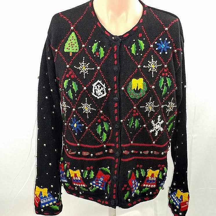 Ugly Christmas Sweater Designers Pearls Wreaths Stars Jewels Bling
