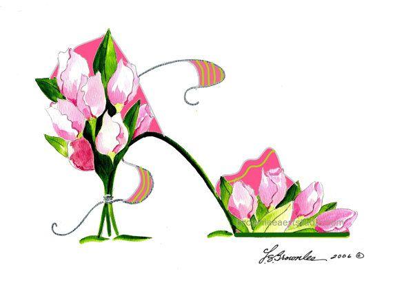 Rose Imprime De La Chaussure De Tulipe De Fleur Bouquet Signe