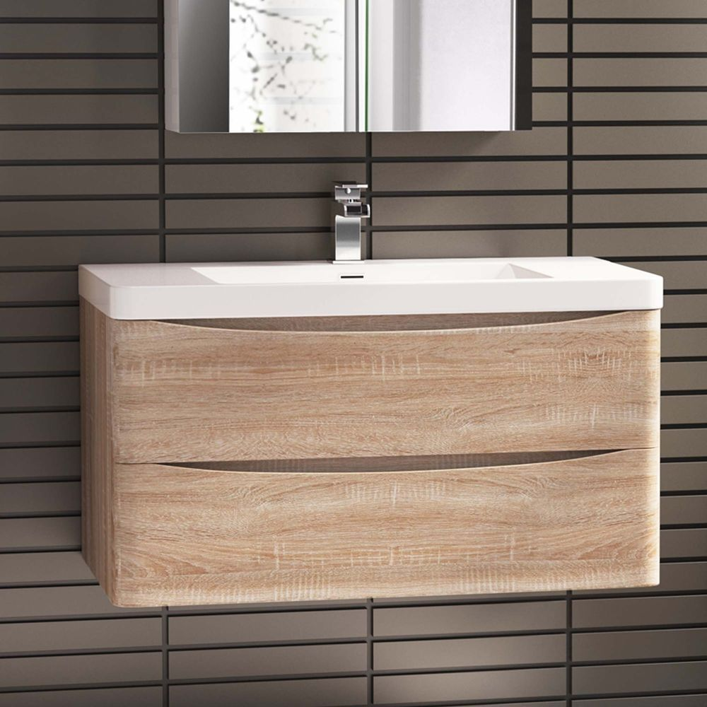 Bathroom Cabinets 500mm Wide 900 x 500mm modern oak bathroom vanity unit & stone counter top
