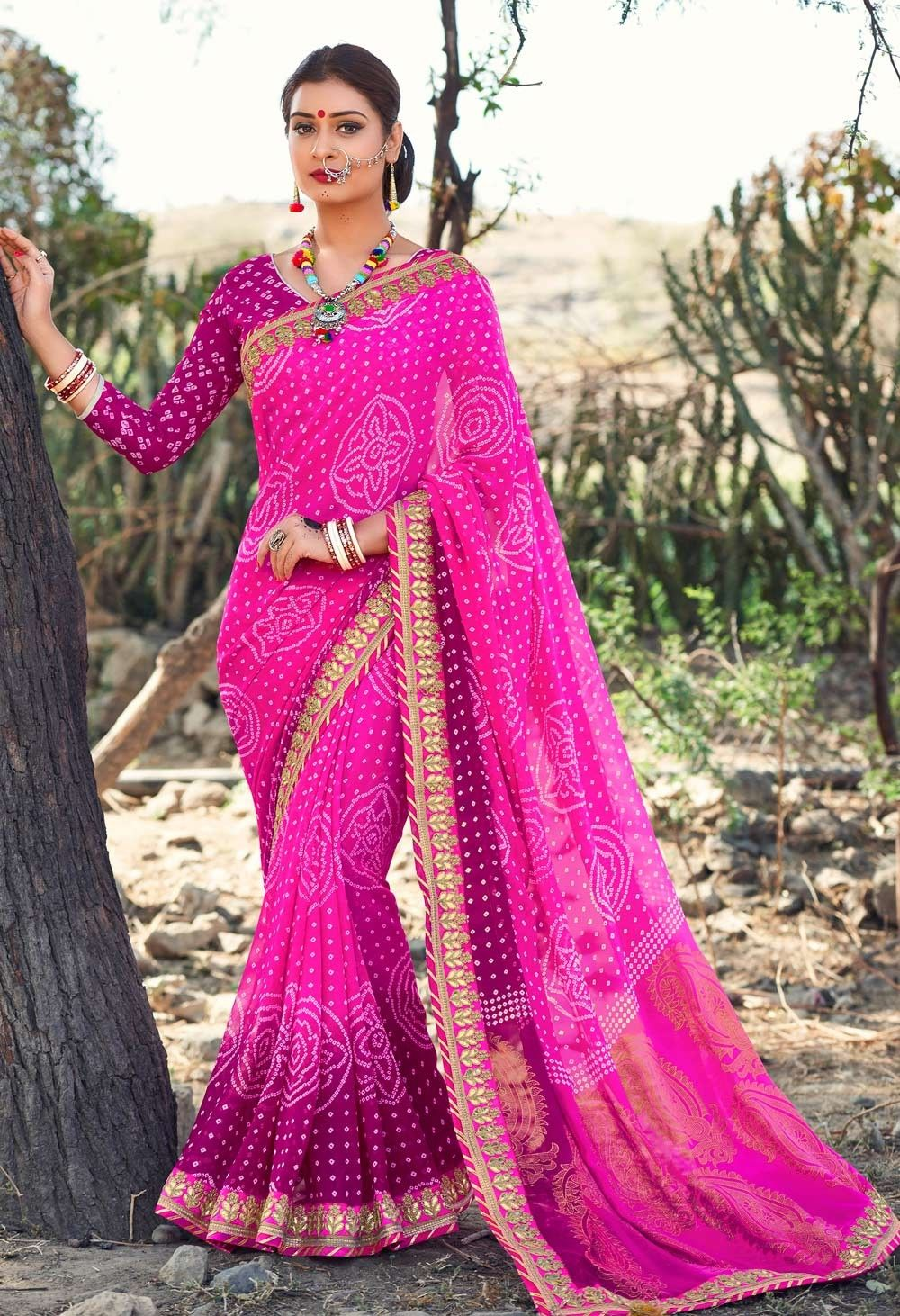 451869c501 Fancy Gujarati Tie And Dye bandhani Saree With heavy Lace Work border