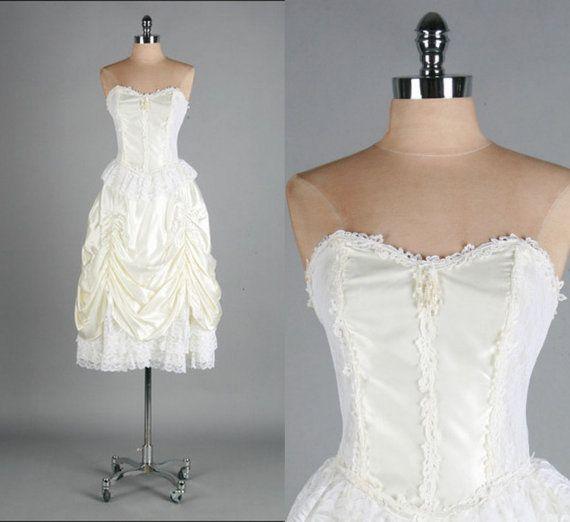 Vintage White Wedding Dress Victorian Steampunk Burlesque Punk Goth Circus