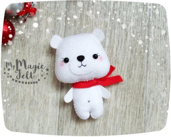 Adornos navide os fieltro oso polar ornamento por - Adornos navidenos ninos ...