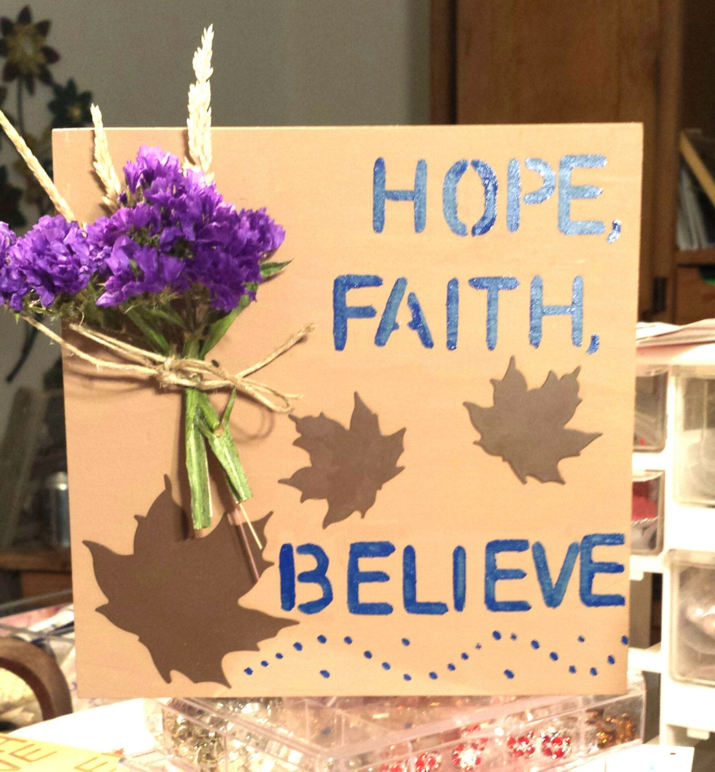 Wooden Wall Signs Hope Faith Believe Wood Wall Sign Coffee Brown ...