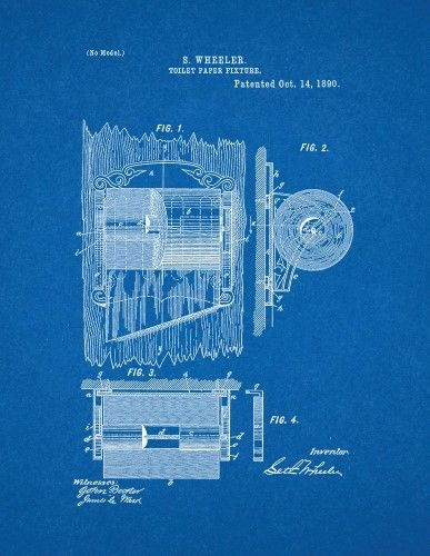 Toilet paper fixture patent print art poster blueprint 16 x 20 toilet paper fixture patent print art poster blueprint 16 x malvernweather Image collections